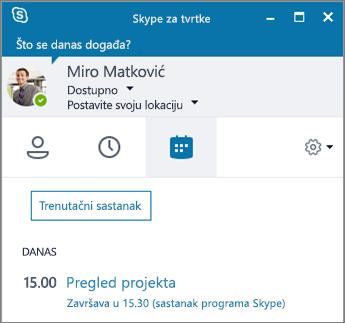 Snimka zaslona na kojoj se prikazuje kartica Sastanci prozora Skypea za tvrtke.