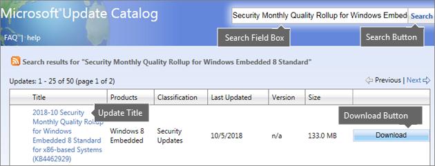 WE8S kataloga Microsoft Update