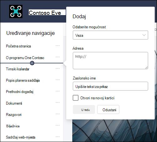 Dodavanje veze na lijevo navigacijsko okno timskog web-mjesta sustava SharePoint