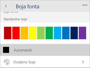 Snimka zaslona izbornika Boja fonta s odabranom  mogućnošću Automatska.