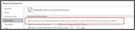 Dijaloški okvir Datoteka > Mogućnosti > Spremi s potvrdnim okvirom za omogućivanje ili onemogućivanje automatskog spremanja