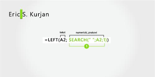 formula za izdvajanje imena i prezimena te srednjeg inicijala