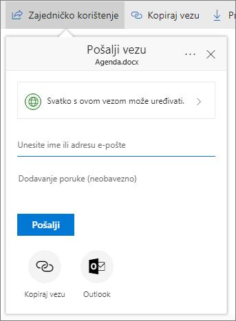 Zajedničko korištenje datoteke ili mape na servisu OneDrive za tvrtke