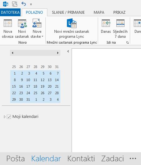 Veza na kalendar nalazi se pri dnu zaslona.