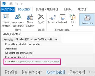 Zajednički popis kontakata koji se prikazuje u oknu Kontakti u programu Outlook