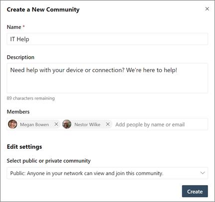 Stvaranje nove zajednice servisa Yammer