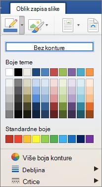 Prikazuju se boja konture za obrub slike.