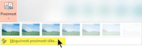 Mogućnosti prozirnosti slike omogućuju vam odabir prilagođene razine ovidljivosti za sliku