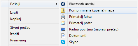 Desnom tipkom miša kliknite prezentaciju, kliknite Pošalji, a zatim Komprimirana (zipana) mapa.