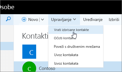 """Snimka zaslona s kontekstnim izbornikom za gumb """"Upravljanje"""" uz odabranu mogućnost """"Vrati izbrisane kontakte""""."""