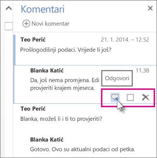Slika naredbe Odgovori ispod komentara u oknu Komentari u web-aplikaciji Word Web App.