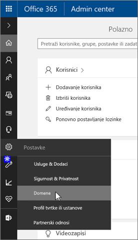 Na stranici Administrator sustava Office 365 kliknite Domene