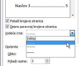 Mogućnost točkaste crte u dijaloškom okviru tablice sadržaja