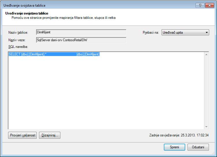 SQL upit koji koristi zadanu, kraću sintaksu