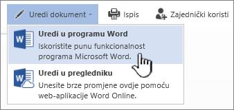 Dokument programa Word otvoren u biblioteci sustava SharePoint s istaknutom mogućnosti Uređivanje su programu Word