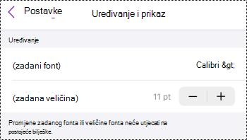 Izbornik Uređivanje i prikaz u odjeljku OneNote za postavke sustava iOS.