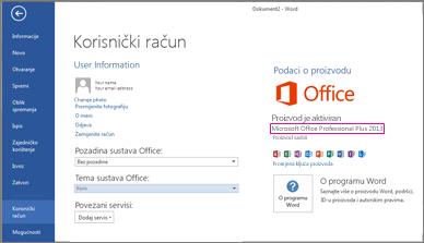 Prozor Datoteka > Korisnički račun u programu Word 2013