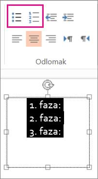 Promjena teksta u natuknice s grafičkim oznakama