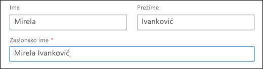 Snimka zaslona Dodavanje korisnika u sustavu Office 365, prikazuje polja imena, prezimena i zaslonsko ime.