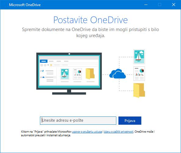 Zaslon za postavljanje servisa OneDrive, novo korisničko sučelje