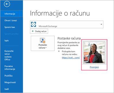 Promjena fotografije veze u programu Outlook