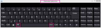Zaslonska tipkovnica sustava Windows 8 s tipkama Alt