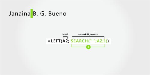 formula za razdvajanje imena, prezimena i dva inicijala u sredini