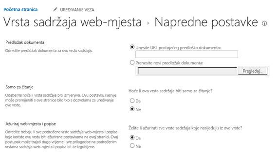 Unesite URL za predložak dokumenta u vrstu sadržaja web-mjesta: Napredne postavke stranice