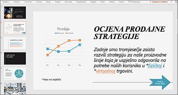 Prezentacija sa slajdom koji sadrži grafikon i tekst s dvije hiperveze