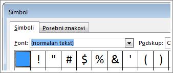 okvir simbol u programu word