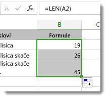 Unos više funkcija LEN u radni list