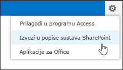 Naredba Izvezi u popise sustava SharePoint na izborniku zupčanika Postavke