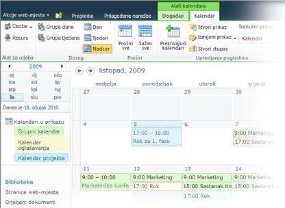 korištenje većeg broja kalendara u sustavu sharepoint