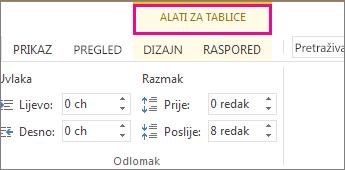 Slika naredbe Alati za tablice koja se prikazuje na vrhu vrpce kada kliknete bile gdje u tablici.