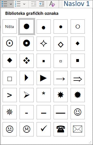 Snimka zaslona odabira stavki popisa s grafičkim oznakama na izborniku Polazno.
