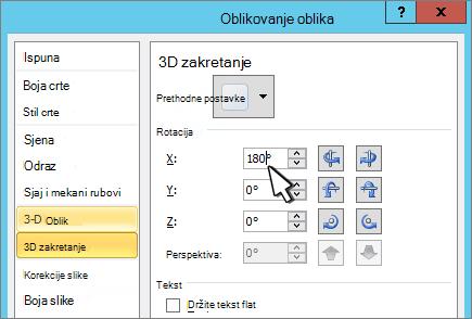 Dijaloški okvir Oblikovanje oblika s odabranom 3D X rotacijom