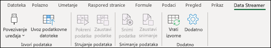 Dodatak Data Streamer na izborniku vrpce programa Excel