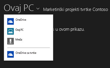 Odabir servisa OneDrive za tvrtke iz druge aplikacije