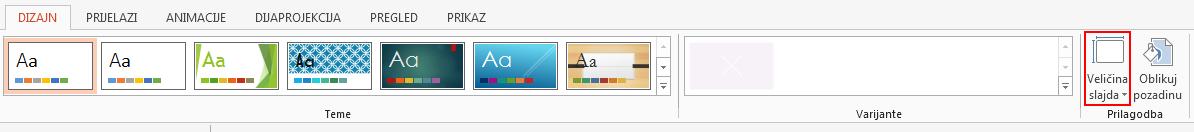 Na kartici Dizajn u grupi Prilagodi kliknite Veličina slajda.