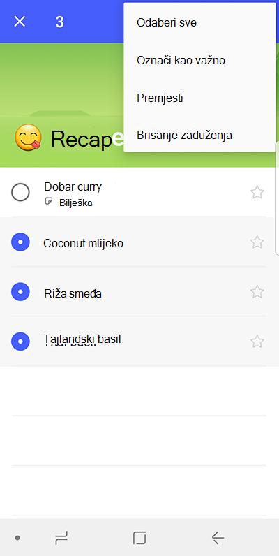 Snimka zaslona s prikazom mogućnost Premjesti zaduženja sustavu Android