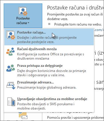 Kliknite Datoteka > Postavke računa > Postavke računa