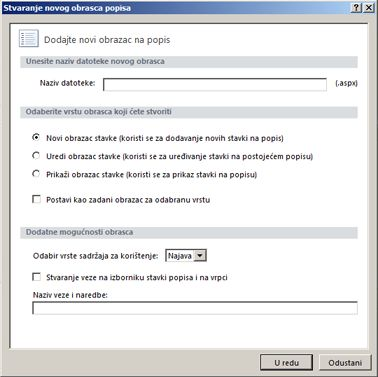 Obrasci programa SharePoint Designer