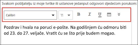 Poruka o automatskim odgovorima programa Outlook na webu
