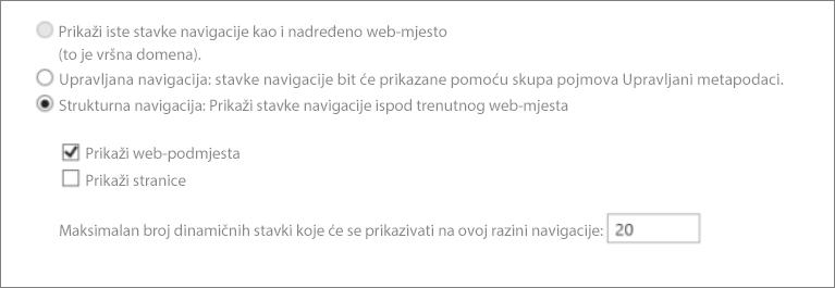 Snimka zaslona s prikazom web-podmjesta