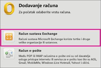 Alati > Računi > Račun sustava Exchange