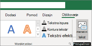 Gumb zamjenski tekst na vrpci programa Excel za Windows