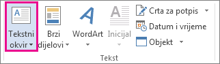 Naredba Tekstni okvir na kartici Umetanje