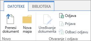 Klaster gumbe u odjeljku otvaranje i Odjava datoteke na vrpci