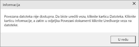 Pokazuje pogrešku povezane datoteke u programu PowerPoint