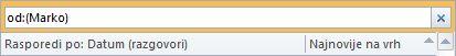 trenutno pretraživanje s kriterijem pretraživanja pošiljatelj
